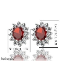 E026 18K Gold Plated Red-Crystal Rhinestone Earrings, Plating Platinum Health Jewelry Nickel Free Factory Price Stud Earring