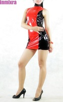 Sleeveless Red and Black Mixed Color PVC Dress