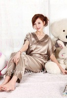 Short sleeve sexy emulation silk pajamas household to take