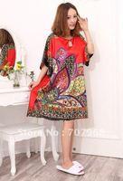 Big red sexy emulation silk nightgown leisure lovely pajamas female