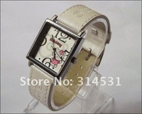 Free shipping  6 colors fashion hello kitty women's ladies leather wrist watches 50pcs/lot