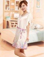 Short sleeve sexy emulation silk lady nightgown han edition lavender