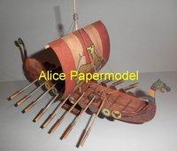 [Alice papermodel]Nordic Viking Pirate Longship Drakkar Galleon Sailing sailboat warships yacht junk models