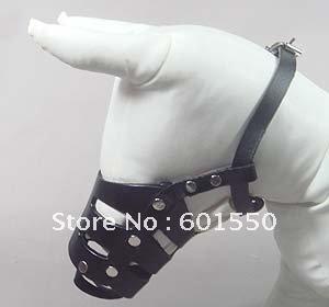 FREE SHIPPING 20PCS/LOT New Black Adjustable Genuine Leather Cage Muzzle For Dog, Pets muzzle, Genuine Leather dog muzzle (S)(China (Mainland))