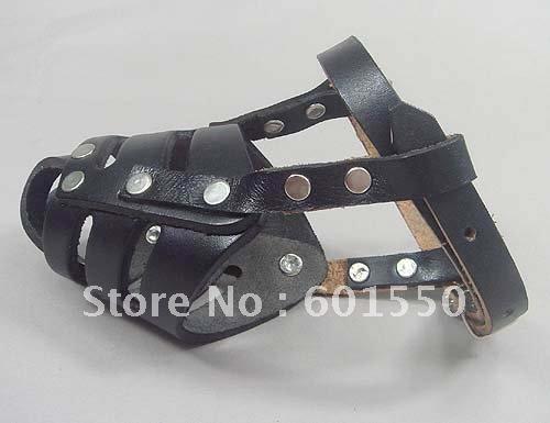 FREE SHIPPING 20PCS/LOT (M) Size Black Adjustable Genuine Leather Cage Muzzle For Dog, Pets muzzle, Genuine Leather dog muzzle(China (Mainland))