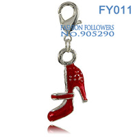 Free Shipping Fashion Jewelry Lucky Charms For Bracelets & Necklace Alloy Shoes Shaped Charm/Pendant Free Shipping FY011
