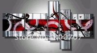 hand-painted The Warm red passion High Q. Home Decoration Modern Abstract Oil Painting on canvas 5pcs