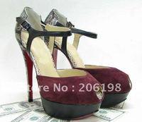 Туфли на высоком каблуке Women's Heels & Pumps Gray shoes, 16cm high heel red sole pump wedding shoes with square heel