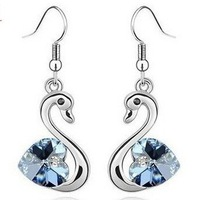 Retail total 12usd free shipping&&Female&girls Fashion crystal jewelry Stainless steel earrings