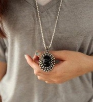 Retro Carved Black Crystal Long Sweater Pendant Necklace D6R3C Free Shipping