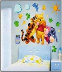 mix 2pcs Free shipping HL-1233 Popular Cartoon Winnie Bear and Tigers Wall Sticker Wall Mural Home Decor Room Decor Kids Room(China (Mainland))