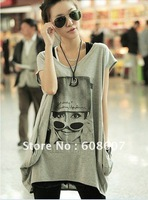 Free shipping summer T shirt long big size cotton clothes women's print T-shirt