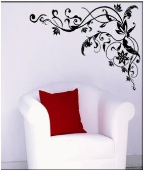 Free shipping The best Price HL-1557 Popular Flowers and Trees Wall Sticker Wall Mural Home Decor Room Decor Kids Room