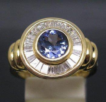 STUNNING SOLID 14K YELLOW GOLD NATURAL VIOLET BLUE TANZANITE DIAMOND RING