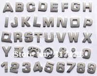 400pcs/Lot  Whlosale Cheap Chrome Letter and figure stickers 3d Decal on Car bumper stickers 2.8*2.5cm Cheap car decals