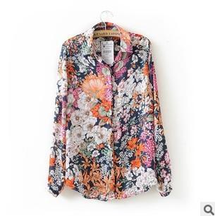 Wholesale Women Vintage Flower Print Long Sleeve Blouses Ladies Fashion Shirts Free Shipping 3-042