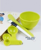 Free Shipping! 10sets/lot 4 in 1 DIY Facial Mask Mixing Bowl Brush Spoon Tools Meter /Makeup Tool Kit