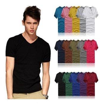 Новый 2015 мода горячей бесплатная доставка мужской одежды тенниски высокого эластичный хлопок мужская с коротким рукавом v шеи туго рубашки мужчины футболки