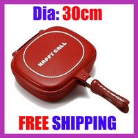 "10pcs/lot 30cm Happy Call Double Gril Pan Deeper Bigger  HOT SALE ""FREE SHIPPING"""