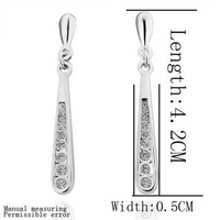 18KGP E113 High Quality 18K Platinum Plated Earrings, Vogue Jewelry, Nickel Free, Plating Platinum, Rhinestone