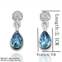E109 Top Sale 18K Platinum Plated Dorp Earrings, Fashion Earring Jewelry, Nickel Free, Austrian SW Element , Blue-stone