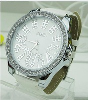 new arrive wholelsale 4pcs/lot  Full diamond fashion watch women watch   big  watch dial  Leather watch  4 color supplier