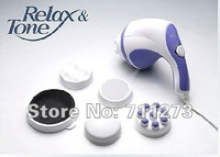 Free shiping 20pcs 3 head Magic Wand Body Massager Massage,Handheld relax spin tone1786 US Plug 100-120V 2574 220-250V(EU Plug