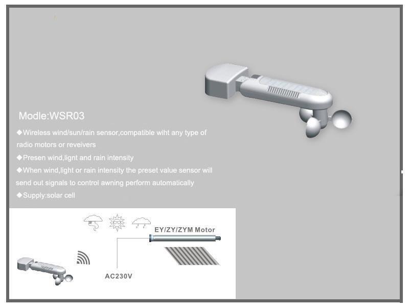 Wireless Solar Wind Sun Rain Sensor Used For Motorized
