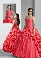 Free Shipping!With Jacket Pleated Satin Embroidery Ball Gown Custom-Made Quinceanera Dresses