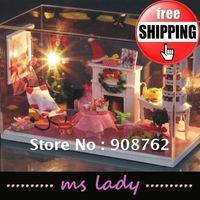 DIY house DIY house model 2012 gift DIY buliding cabin free shipping HK airmail