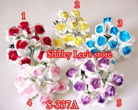 Wholesale--SPECIAL  !! 150 bunches=1500pcsTwo-Tone Mulberry Paper Rose  flowers for scrapbooking Mix 5 Colors, *FREE SHIPPING*