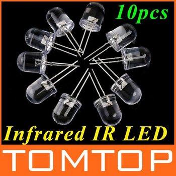 10Pcs / 10mm Ajuste de 300mW infrarrojos IR LED de visión nocturna 850nm diodo luminoso Diodo emisor de luz libre del envío