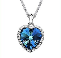 New  Fine Heart of Ocean Rhinestone Rhodium White Gold Plated Necklace Gift for Lovers