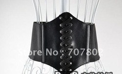 Promotions!!Free Shipping Lace-up Corset Style Elastic Cinch Belt/Stretchy Faux Leather Waist Belt Corset/Bustier/lady&#39;s Belt(China (Mainland))