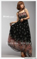 Free shipping wholesale 6pcs Bohemia Indigenous flavor long style brace dresses chiffon maxi dress