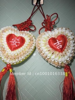"free shipping! Chinese knot with ""peace and good luck"" strap shell crafts and gifts"