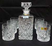 Czech crystal wine glass set / Crystal wine bottle glass gift set