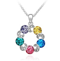 Retail multicolour austrian crystal Ferris wheel titanium necklace for wedding