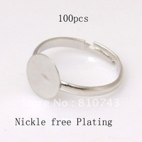 100 Silver Plated Adjustable Flat Ring Pad Bases Blanks 2 Size Available Children or Adult Nickle