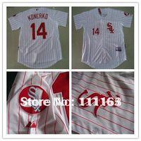 Free Shipping-Chicago White Sox 14# Konerko  white red stripe  Cool base Jerseys size:48~56+Mix Order