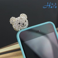 IP006 plug decoration pretty  bear  flower anti-dust plug  w rhinestone crystals Smartphone Earphone Jack Accessory