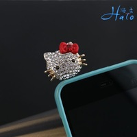 IP012 plug decoration pretty  gold tone kitty  w rhinestone crystals Smartphone ear dust cap
