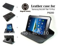 360 degrees Rotating  Leather Cover Case for Samsung Galaxy Tab 7.0 P6210 P6200 free shipping by air mail ED623