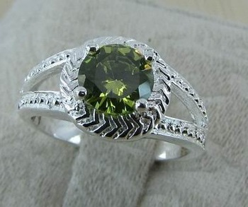 10pcs/lot,7#  newest silver plated green crystal ring,fashion jewelry BV045