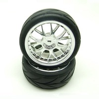2pair / lot 1/10 Scale on-road car Tires/ wheels (2pcs/Pair) (Chrome Plated)