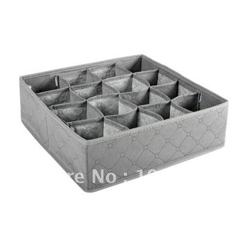 5x bamboo bra storage box/case 16 grid non woven underwear storage box folding clothes container free shipping