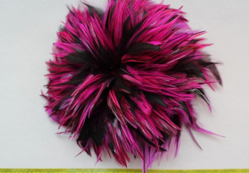 set of 200pcs Selected fuschia black Rooster Saddle Feather Hair Extensions 3-5&quot;(China (Mainland))