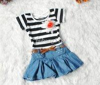 hildren dress Girls striped corsage dress