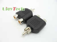 Free shipping-RCA AV Audio Y Splitter Plug Adapter 1 Male to 2 Female, Audio Adaptor, In stock + Fast delivery, 10pcs/lot