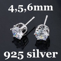 Free Shipping 6mm 925 Sterling Silver Stud Earrings Zircon Stud Earrings CZ Stud Earrings With 925 Logo 20pairs/lot